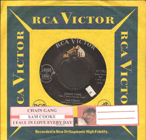 Cooke, Sam - Chain Gang/I Fall In Love Every Day (with juke box label and RCA company sleeve) - NM9/ - 45 rpm Records