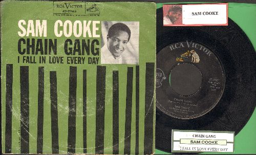 Cooke, Sam - Chain Gang/I Fall In Love Every Day (with juke box label and picture sleeve) - EX8/VG7 - 45 rpm Records