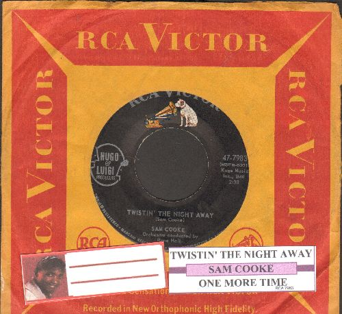 Cooke, Sam - Twistin' The Night Away/One More Time (with juke box label and RCA company sleeve) - EX8/ - 45 rpm Records