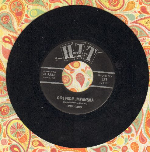 Colson, Betty - Girl From Impanema/Dang Me (by Harvey Frolic on flip-side) (contemporary cover vesions) - EX8/ - 45 rpm Records
