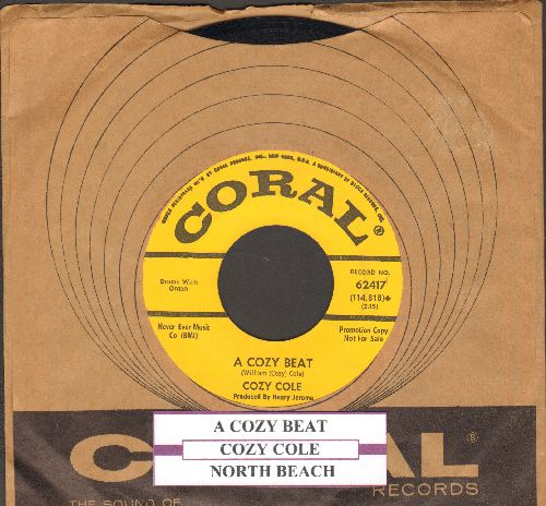 Cole, Cozy - A Cozy Beat/North Beach (yellow label DJ advance pressing with juke box label and Coral company sleeve) - NM9/ - 45 rpm Records