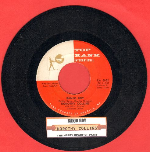 Collins, Dorothy - Banjo Boy (RARE English Version of Euro Hit)/The Happy Heart Of Paris (with juke box label) - NM9/ - 45 rpm Records
