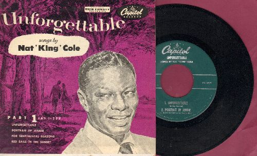 Cole, Nat King - Unforgettable/For Sentimental Reason/Red Sails In The Sunset/Portrait Of Jeannie (vinyl EP record with picture cover) - NM9/EX8 - 45 rpm Records