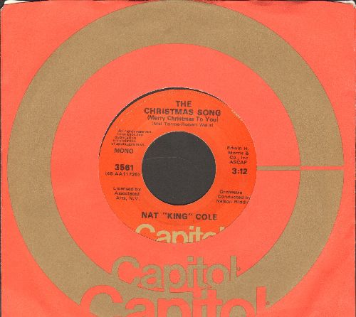 Cole, Nat King - The Christmas Song/The Little Boy That Santa Claus Forgot (1970s orange label issue with Capitol company sleeve) - NM9/ - 45 rpm Records