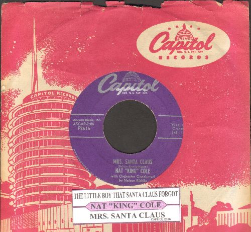 Cole, Nat King - Mrs. Santa Claus/The Little Boy That Santa Claus Forgot (purple label first pressing with vintage Capitol company sleeve) - VG7/ - 45 rpm Records