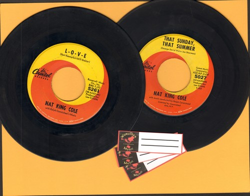 Cole, Nat King - 2 for 1 Special: L-O-V-E/That Sunday That Summer (2 vintage first issue 45rpm records with 3 blank juke box labels for the price of 1!) - VG7/ - 45 rpm Records