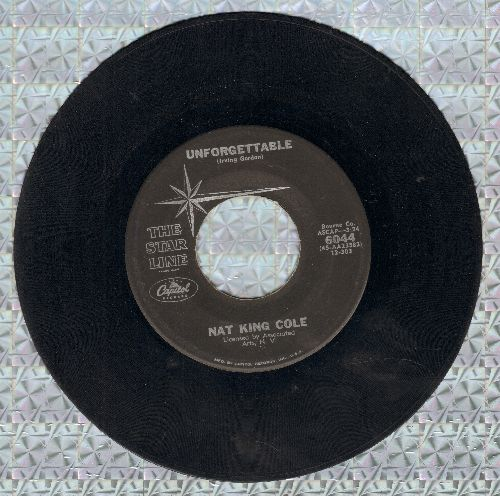 Cole, Nat King - Unforgettable/Somehwere Along The Way (early double-hit re-issue) - EX8/ - 45 rpm Records