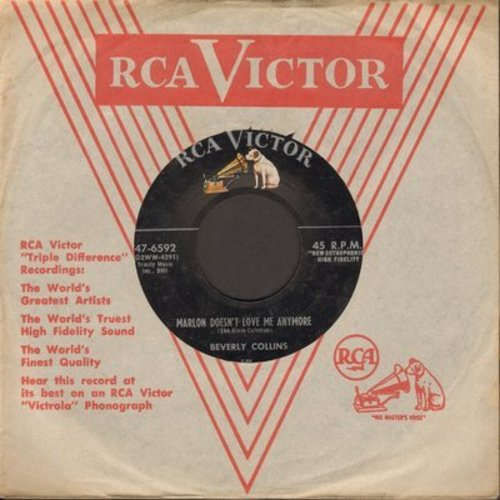 Collins, Beverly - Marlon Doesn't Love Me Anymore/To Me, With Love (with vintage RCA company sleeve) - EX8/ - 45 rpm Records