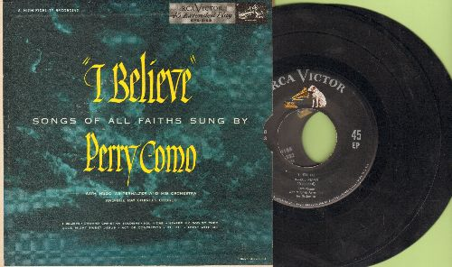 Como, Perry - I Believe - Songs Of All Faiths: Onward Christian Soldiers/Eli, Eli/Abide With Me/Kol Nidrei + 3 (2 vinyl EP records with picture cover) - EX8/EX8 - 45 rpm Records