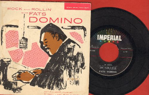 Domino, Fats - Rock And Rollin' With Fats Domino: Ain't It A Shame/Poor Me/Bo Weevil/Don't Blame It On Me (Vinyl EP record, multi-color label pressing with picture cover) - EX8/VG6 - 45 rpm Records