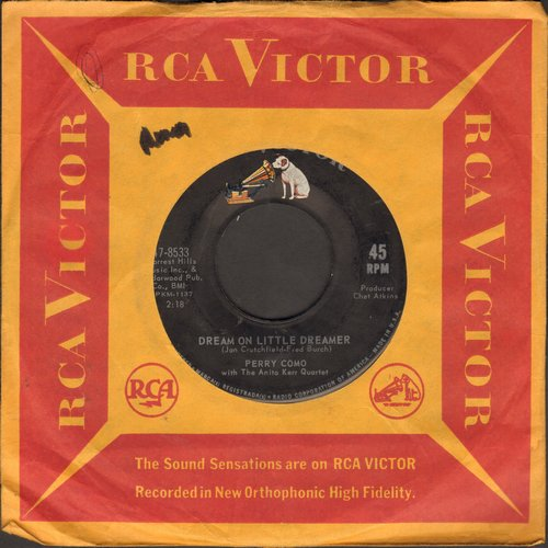 Como, Perry - Dream On Little Dreamer/My Own Peculiar Way (with RCA company sleeve) - EX8/ - 45 rpm Records