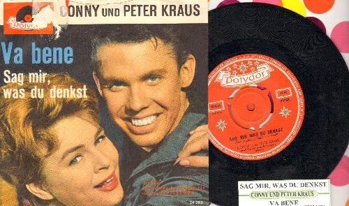 Conny und Peter Kraus - Sag mir, was du denkst/Va bene (Dutch Pressing with juke box label and picture sleeve, removable spindle adaptor) - EX8/VG7 - 45 rpm Records