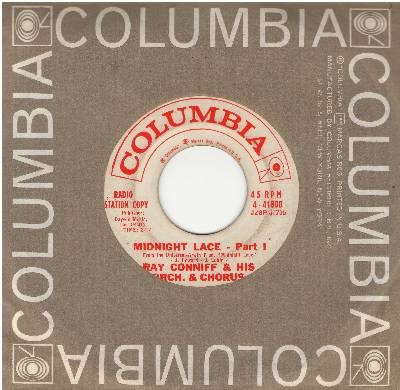 Conniff, Ray & His Orchestra & Chorus - Midnight Lace (Parts 1 +2) (DJ advance pressing with Columbia company sleeve) - EX8/ - 45 rpm Records