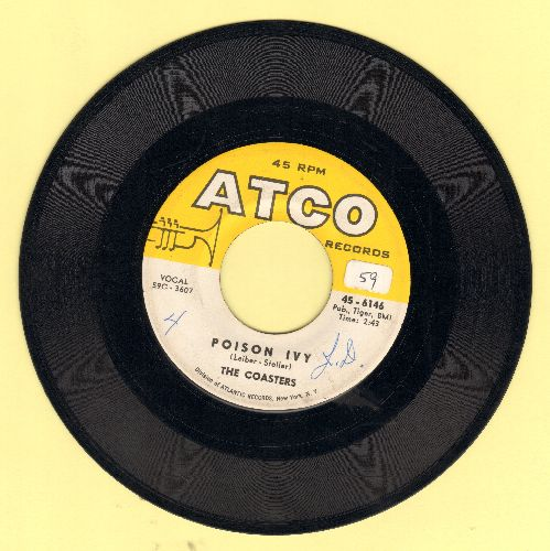 Coasters - Poison Ivy/I'm A Hog For You (minor wol) - VG7/ - 45 rpm Records