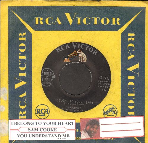 Cooke, Sam - I Belong To Your Heart/You Understand Me (with juke box label and RCA company sleeve) - NM9/ - 45 rpm Records
