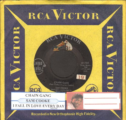 Cooke, Sam - Chain Gang/I Fall In Love Every Day (with juke box label and RCA company sleeve) - EX8/ - 45 rpm Records