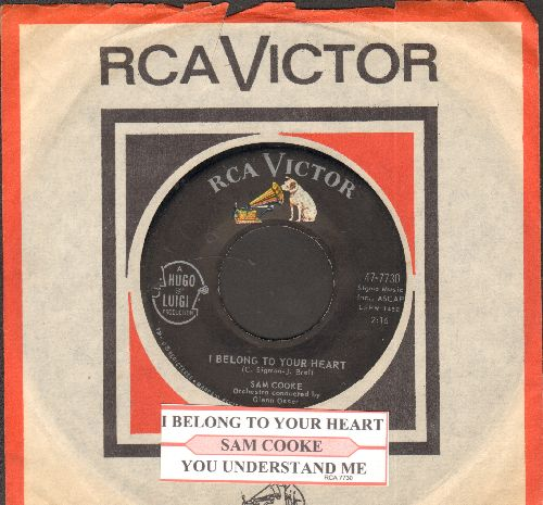 Cooke, Sam - I Belong To Your Heart/You Understand Me (with juke box label and RCA company sleeve) - EX8/ - 45 rpm Records