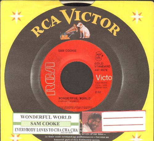 Cooke, Sam - Wonderful World/Everybody Loves To Cha Cha Cha (double-hit reissue with juke box label and company sleeve) - EX8/ - 45 rpm Records