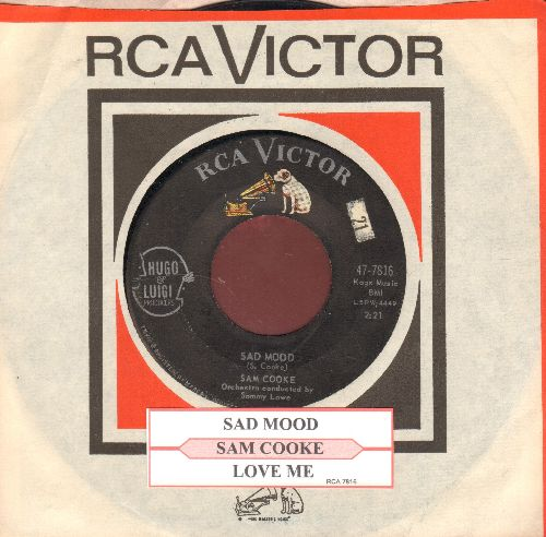 Cooke, Sam - Sad Mood/Love Me (ULTRA-DREAMY flip-side, Overlooked Gem!) (with juke box label and RCA company sleeve) - VG7/ - 45 rpm Records