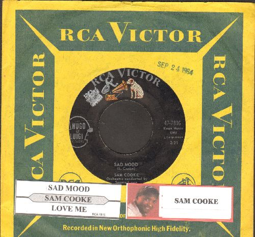 Cooke, Sam - Sad Mood/Love Me (ULTRA-DREAMY flip-side, Overlooked Gem!) (with juke box label and RCA company sleeve) - EX8/ - 45 rpm Records