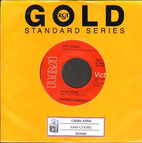 Cooke, Sam - Chain Gang/Cupid (double-hit re-issue with juke box label and company sleeve) - NM9/ - 45 rpm Records