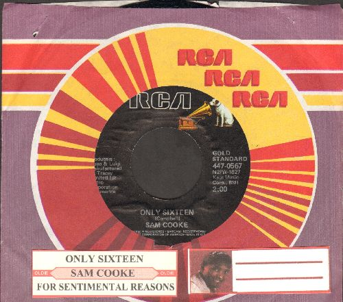 Cooke, Sam - Only Sixteen/For Sentimental Reasons (double-hit reissue with juke box label and company sleeve) - NM9/ - 45 rpm Records