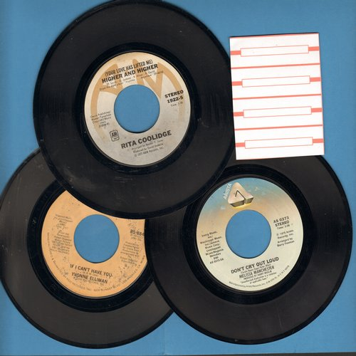 Coolidge, Rita, Melissa Manchester, Yvonne Elliman - 70s Disco Girl-Sount 3-Pack: (Your Love Has Lifted Me) Higher And Higher/Don't Cry Out Loud/If I Can't Have You. With 4 blank juke box label. GREAT for a Juke Box! - EX8/ - 45 rpm Records