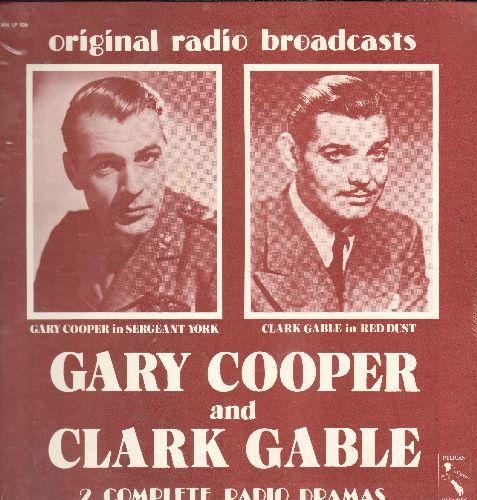 Cooper, Clark Gable - Original Radio Broadcast of Gary Cooper in Seargant York & Clark Gable in Red Dust - Vinyl LP record, 1970s issue of vintage recordings, SEALED, never opened! - SEALED/SEALED - LP Records