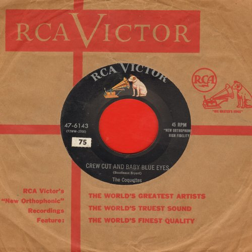 Coquettes - Crew Cut And Baby Blue Eyes/That Naughty Waltz (FANTASTIC Vintage Girl-Sound two-sider!) (with RCA company sleeve) - EX8/ - 45 rpm Records