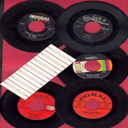 Williams, Billy, Echoes, Jimmy Beasley, Patsy Cline, Majors - Vintage 5-pack of 45rpm Oldies - Hit titles include Baby Blue, Always, A Wonderful Dream, Jambalaya and I'm Gonna Sit Right Down And Write Myself A Letter. Original first issue 45s, all in very