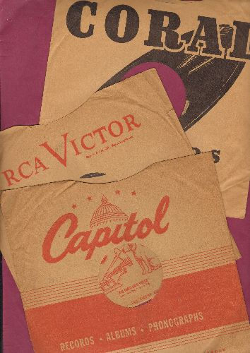 Company Sleeves - 3-Pack 10 inch vintage company sleeves (Capitol/Coral/RCA - exactly as pictured), shipped in 10 inch clear plastic sleeve. Enhances and protects you collectable 10 inch 78 rpm record!   - /EX8 - Supplies