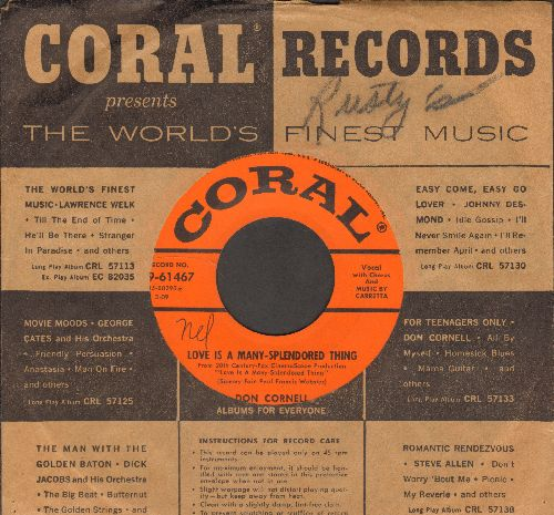 Cornell, Don - Love Is A Many-Splendored Thing/The Bible tells Me So (with Coral company sleeve) - EX8/ - 45 rpm Records