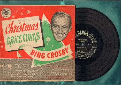 Crosby, Bing - Christmas Greetings: Here Comes Santa Claus, You're All I Want For Christmas, The First Nowell (10 inch LP record with picture cover) - VG7/VG7 - LP Records