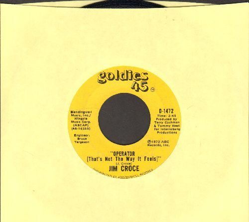 Croce, Jim - Operator/You Don't Mess Around With Jim (double-hit re-issue, minor wol) - EX8/ - 45 rpm Records