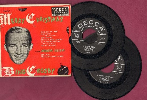 Crosby, Bing & The Andrews Sisters - White Christmas/Jingle Bells/Santa Claus Is Comin' To Town/I'll Be Home For Christmas + 4 (2 vinyl EP records in gate-fold picture cover) - VG7/EX8 - 45 rpm Records