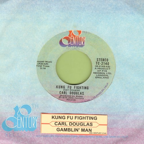 Douglas, Carl - Kung Fu Fighting/Gamblin' Man (This #1 World Hit was inspired by the TV Series and renewed interest in Martial Arts) (with company sleeve and juke box label!) - NM9/ - 45 rpm Records