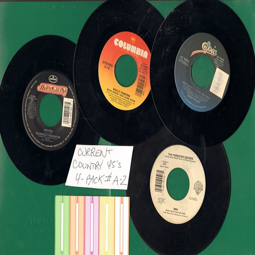 Forester Sisters, Kentucky Headhundters, Dolly Parton, Doug Stone - Current Country 45s (4 pack - Set A2) - Hits include Men, Dixie Fried, More Where That Came From and Why Didn't I Think Of That. Shipped in plain white sleeves with 5 blank juke box label