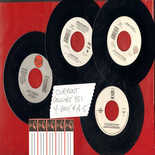Prates Of The Mississippi, Randy Travis, Lorrie Morgan, Hank Williams Jr. - Current Country 45s (4 pack - Set A5) - Hits include Til I'm Holding You Again, An Old Pair Of Shoes, Except For Monday and Diamond Mine. Shipped in plain white sleeves with 5 bla