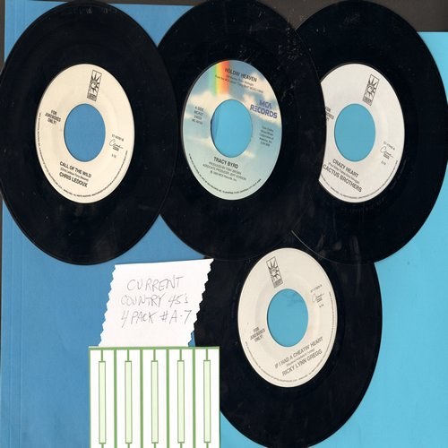 Cactus Brothers, Tracy Byrd, Ricky Lynn Gregg, Chris LeDoux - Current Country 45s (4 pack - Set A7) - Hits include Holdin' Heaven, Crazy Heart, Call Of The Wild, Cadillac Ranch. Shipped in plain white sleeves with 5 blank juke box labels. - NM9/ - 45 rpm