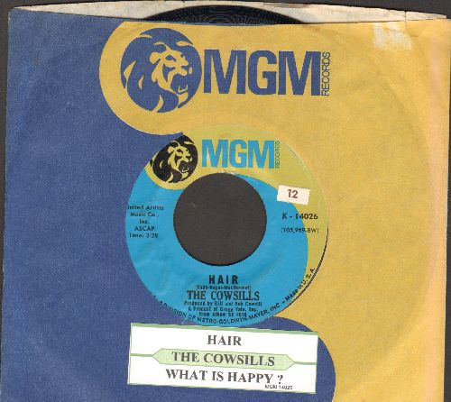 Cowsills - Hair/What Is Happy (with juke box label and MGM company sleeve) - NM9/ - 45 rpm Records