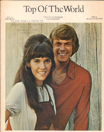 Carpenters - Top Of The World - SHEET MUSIC for the Carpenters Classic. BEAUTIFUL cover portrait of the legendary duo! - EX8/ - Sheet Music
