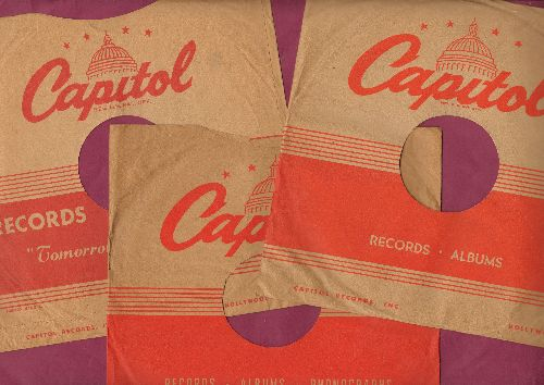 Company Sleeves - 3-Pack of 10 inch vintage Capitol company sleeve (exactly as pictured), shipped in 10 inch clear plastic sleeve. Enhances and protects you collectable 10 inch 78 rpm record!  - /EX8/EX8 - Supplies