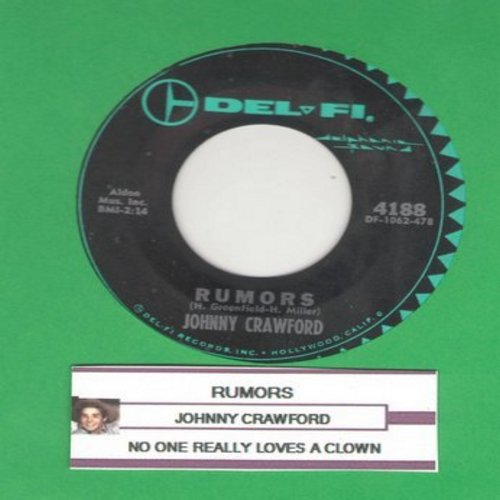 Crawford, Johnny - Rumors/No One Really Loves A Clown (with juke box label) - EX8/ - 45 rpm Records