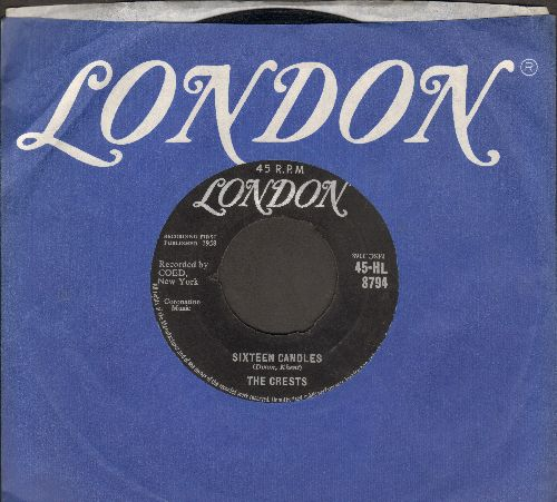 Crests - Sixteen Candles/Beside You (British Pressing with company sleeve) - VG7/ - 45 rpm Records