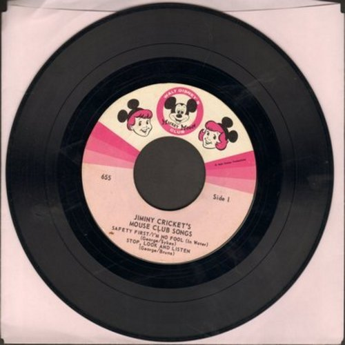 Disney - Jimini Cricket's Mouse Club Songs: Safety First/I'm No Fool/Stop, Look And Listen/Nineteen Twenty-Five/I'm No Fool (vinyl EP record, NO picture cover) - VG6/ - 45 rpm Records