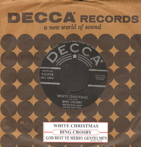 Crosby, Bing - White Christmas/God Rest Ye Merry Gentlemen (black label early 1950s issue with juke box label and Decca company sleeve)  - NM9/ - 45 rpm Records