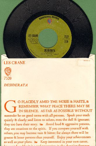 Crane, Les - Desiderata/A Different Drummer (with picture sleeve) - NM9/EX8 - 45 rpm Records