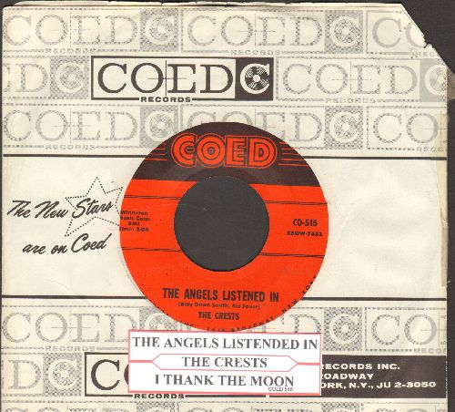 Crests - The Angels Listened In/I Thank The Moon (with RARE Coed company sleeve and juke box label) - NM9/ - 45 rpm Records