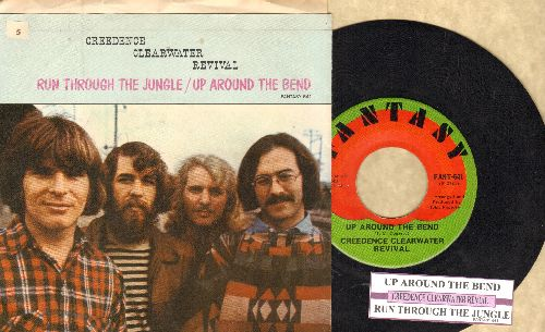 Creedence Clearwater Revival - Ujp Around The Bend/Run Through The Jungle (with juke box label and picture sleeve) - EX8/EX8 - 45 rpm Records