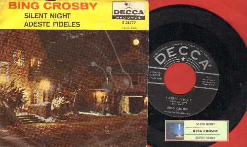 Crosby, Bing - Silent Night/Adeste Fideles (silver star/lines label with juke box label and picture sleeve) - EX8/EX8 - 45 rpm Records